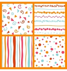 hand seamless patterns bright collection vector image