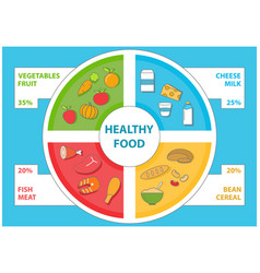 healthy food infographic in flat style set vector image