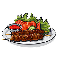 Hot grilled kebab vector