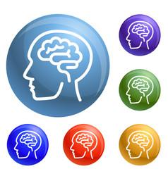 Human think brain icons set vector