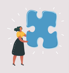 isolated woman with big puzzle on white vector image