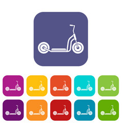 Kick scooter icons set vector