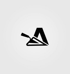 Letter a combined with trowel logo template vector