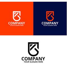 Letter k arrow shield logo template vector
