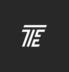 Letters te logo minimal style monogram black and vector