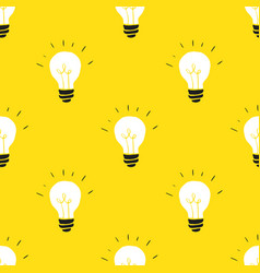 light bulb seamless pattern hand drawn vector image