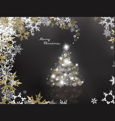 lighted up christmas tree with many lens flares vector image vector image
