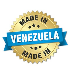 Made in Venezuela gold badge with blue ribbon vector