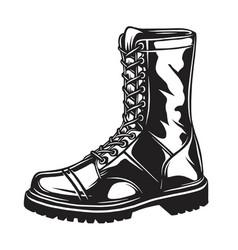Monochrome military boot vector
