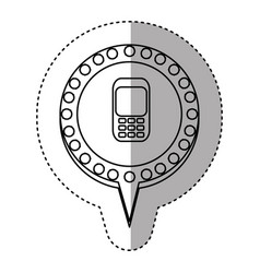 Monochrome sticker with cell phone in circular vector