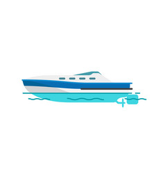Motor boat sailboat isolated vector