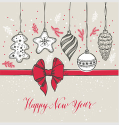 new year s toys on wood hand drawn style greeting vector image
