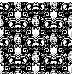 Paisley seamless pattern black and white vector
