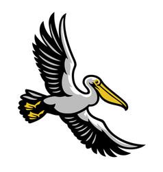 Pelican bird flying mascot vector