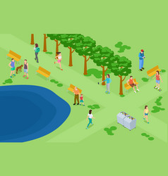 people relaxing and running in park isometric vector image