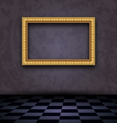 picture frame in dark empty interior vector image