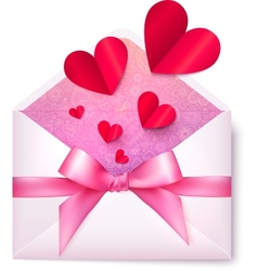 Pink paper envelope with red hearts and bow vector image