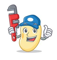 Plumber soy bean mascot cartoon vector