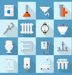 plumbing cartoon set vector image
