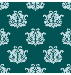 Pretty seamless damask style pattern in blue vector image vector image