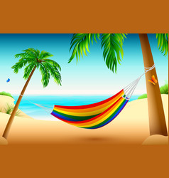 rainbow striped hammock on beach between palm vector image