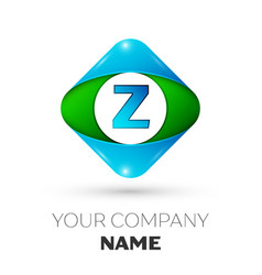 Realistic letter z logo in colorful rhombus vector