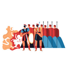 roman legion warriors with spears and shields vector image