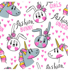 Seamless pattern with faces bunny and rainbow vector