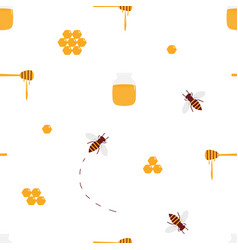 Seamless pattern with honey bees honey products vector