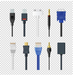 set of different plugs and vector image
