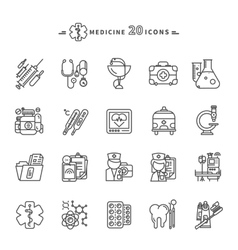 Set of Outline Medicine Icons on White Background vector image