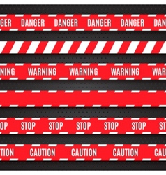 Set red warning tapes on dark background vector
