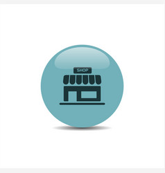 shop icon on a blue round button vector image