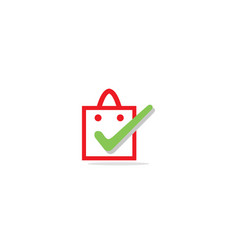 shopping bag check logo vector image