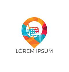 shopping cart and map pointer logo design vector image