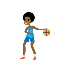 Smiling happy african basketball player ready for vector