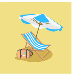 summer blue beach umbrella chair yellow background vector image