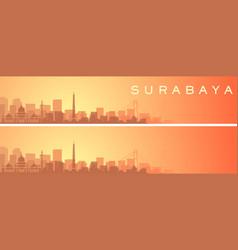 Surabaya beautiful skyline scenery banner vector