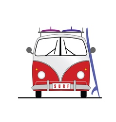Surf vehicle with surfboard icon in colorful vector
