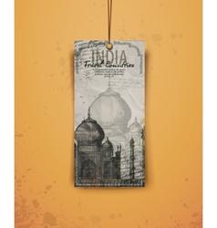Taj Mahal India vintage hand drawn vector