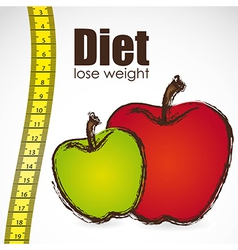 tape measure with apple weight control vector image