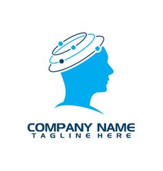 techno human head logo concept vector image