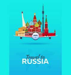Travel to russia airplane with attractions vector
