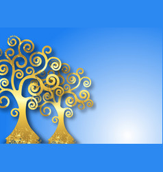 Tree life gold trees on blue sky background vector