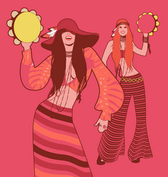 Two girls playing tambourines wearing hippie vector
