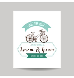 Wedding invitation card - save date - bicycle vector