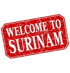 Welcome to Surinam red square grunge stamp vector