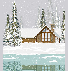Winter background view of a house in the forest vector