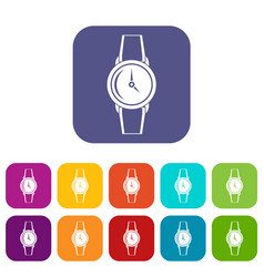 Wristwatch icons set flat vector