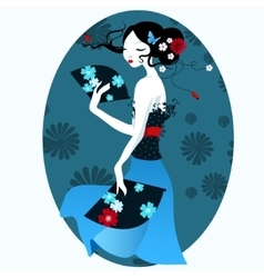 Beautiful girl in the Japanese dress with fan in vector image vector image